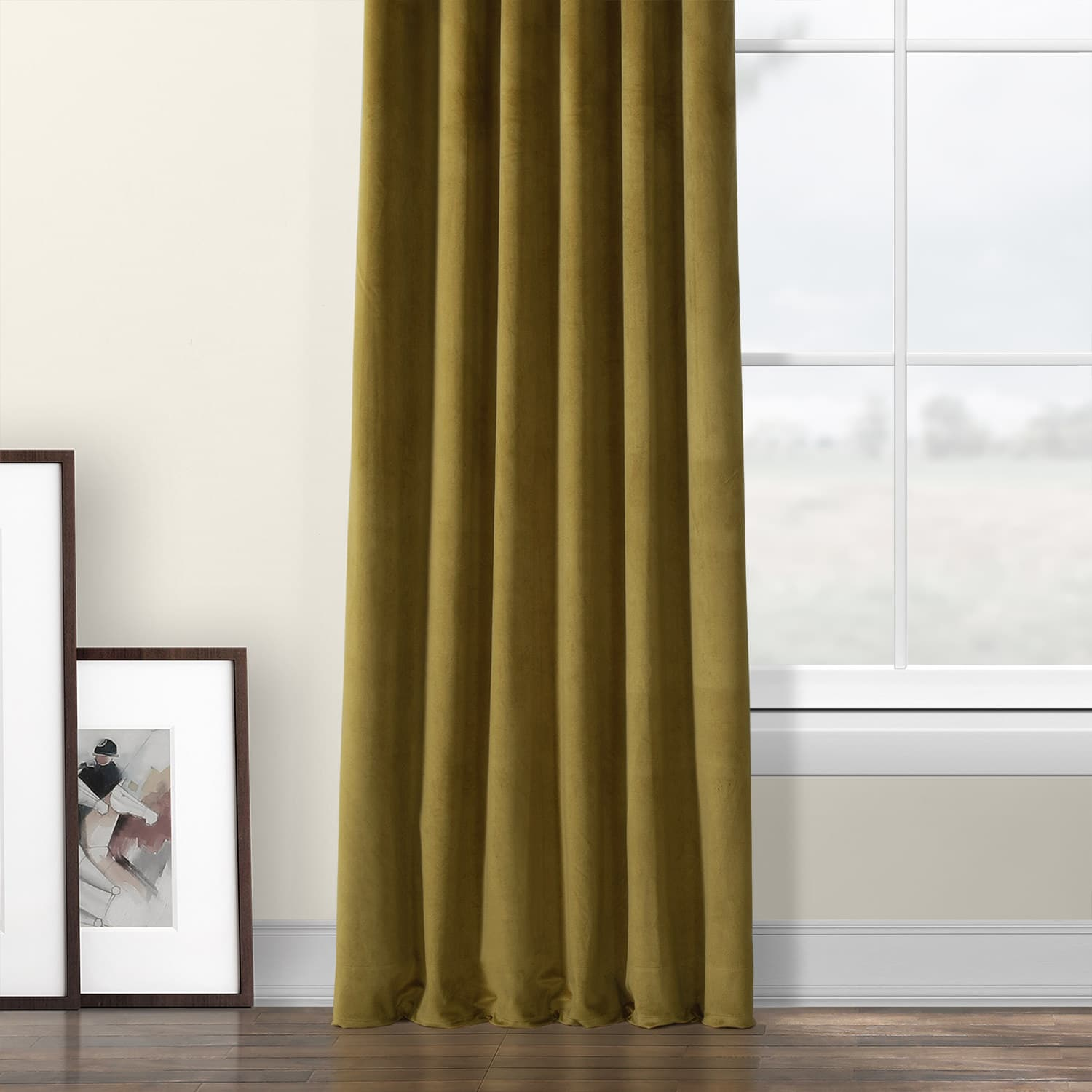 Peat Green Heritage Plush Velvet Curtain