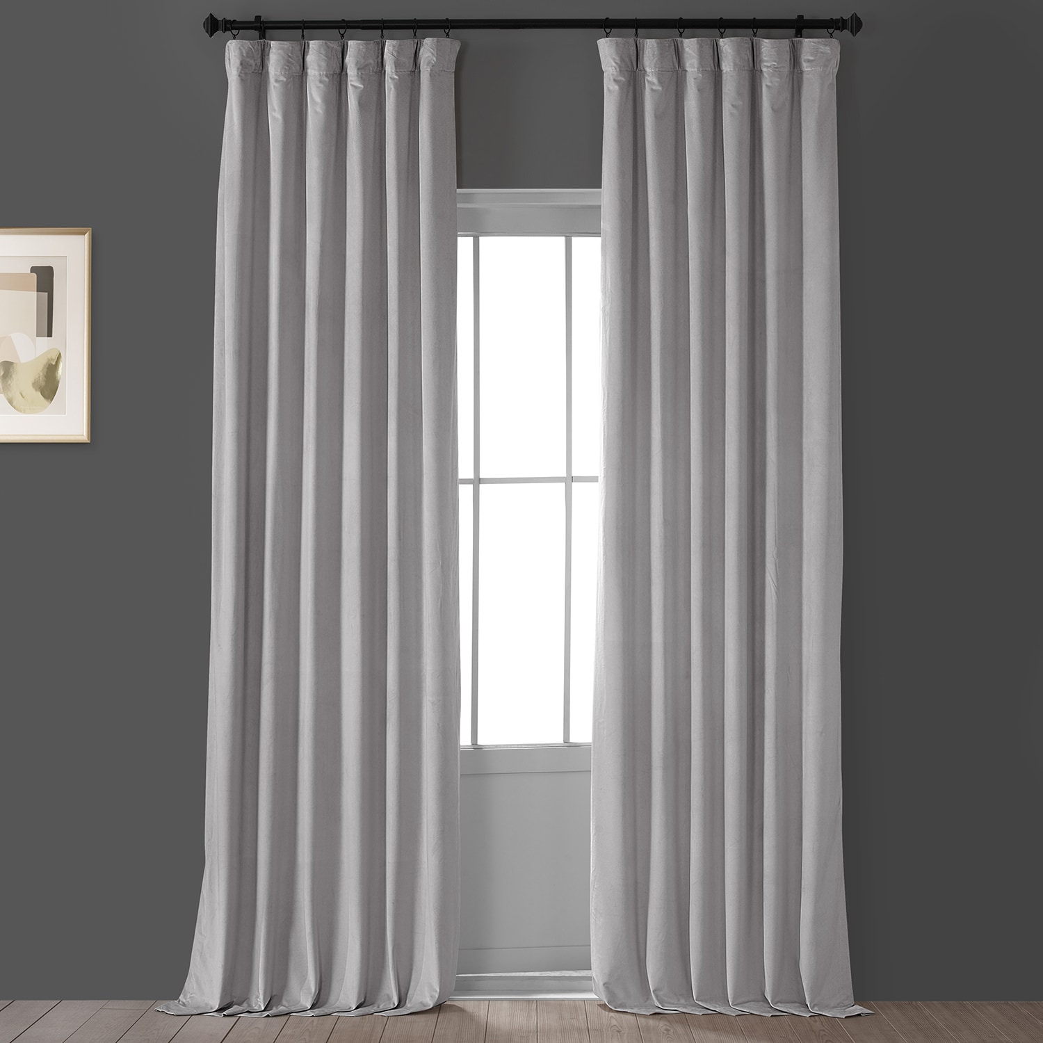 City Grey Heritage Plush Velvet Curtain