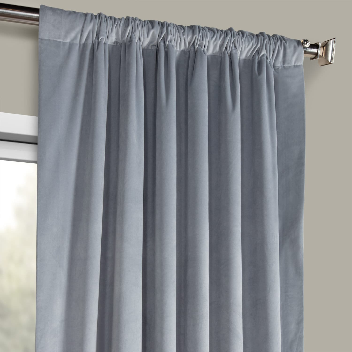 Keystone Grey Heritage Plush Velvet Curtain