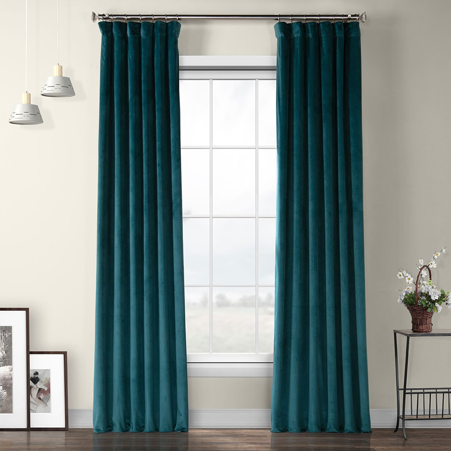 Deep Sea Teal Heritage Plush Velvet Curtain