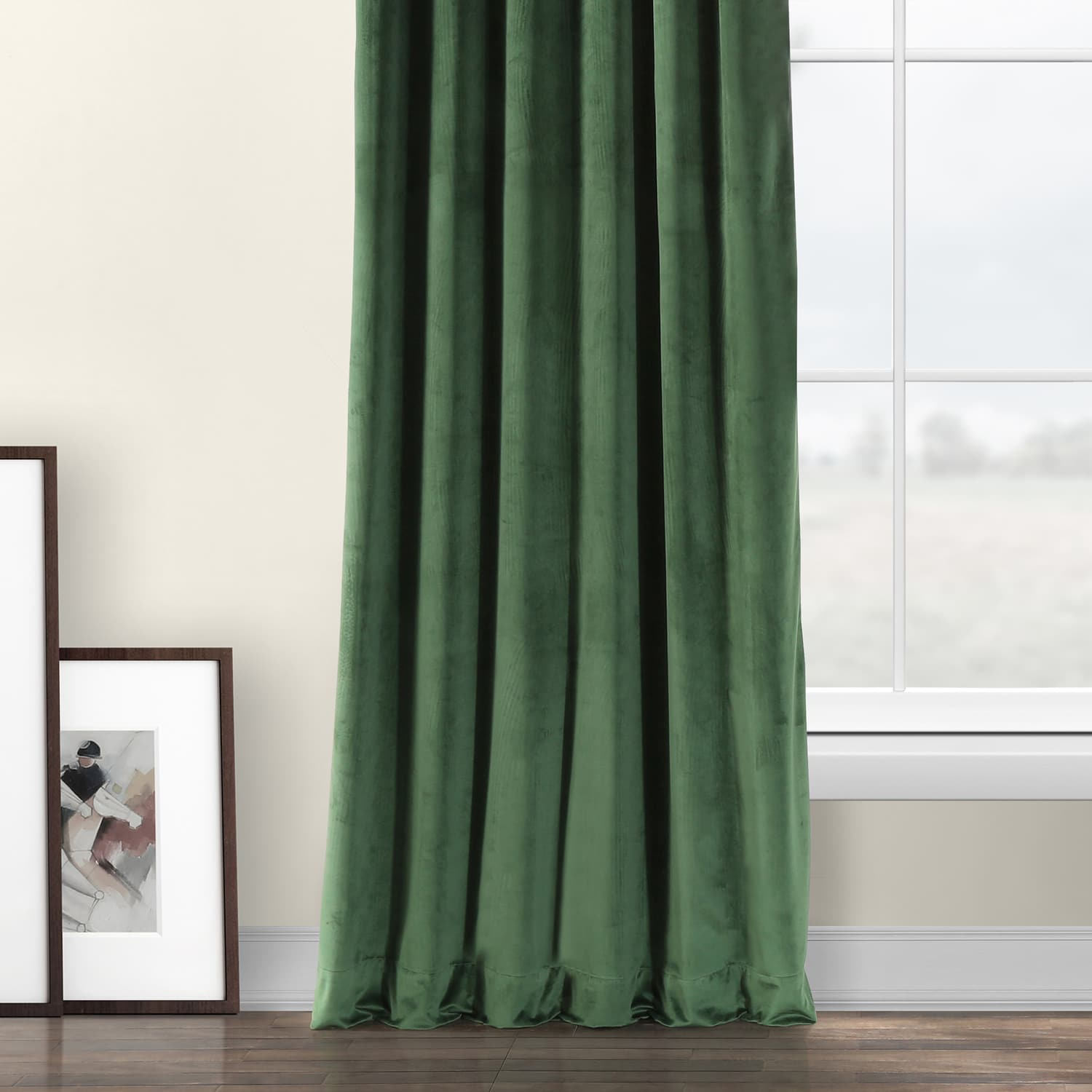 Eden Green Heritage Plush Velvet Curtain