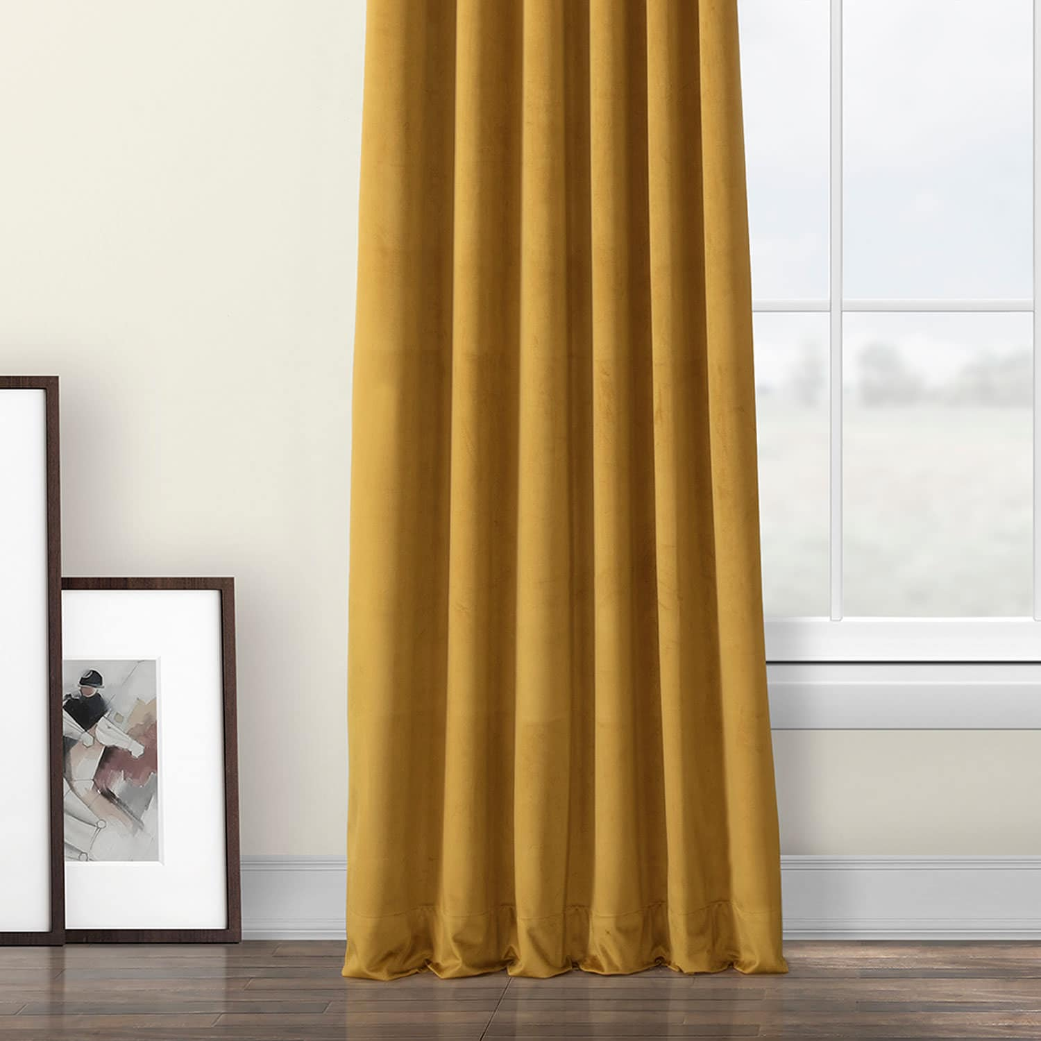 Retro Gold Heritage Plush Velvet Curtain