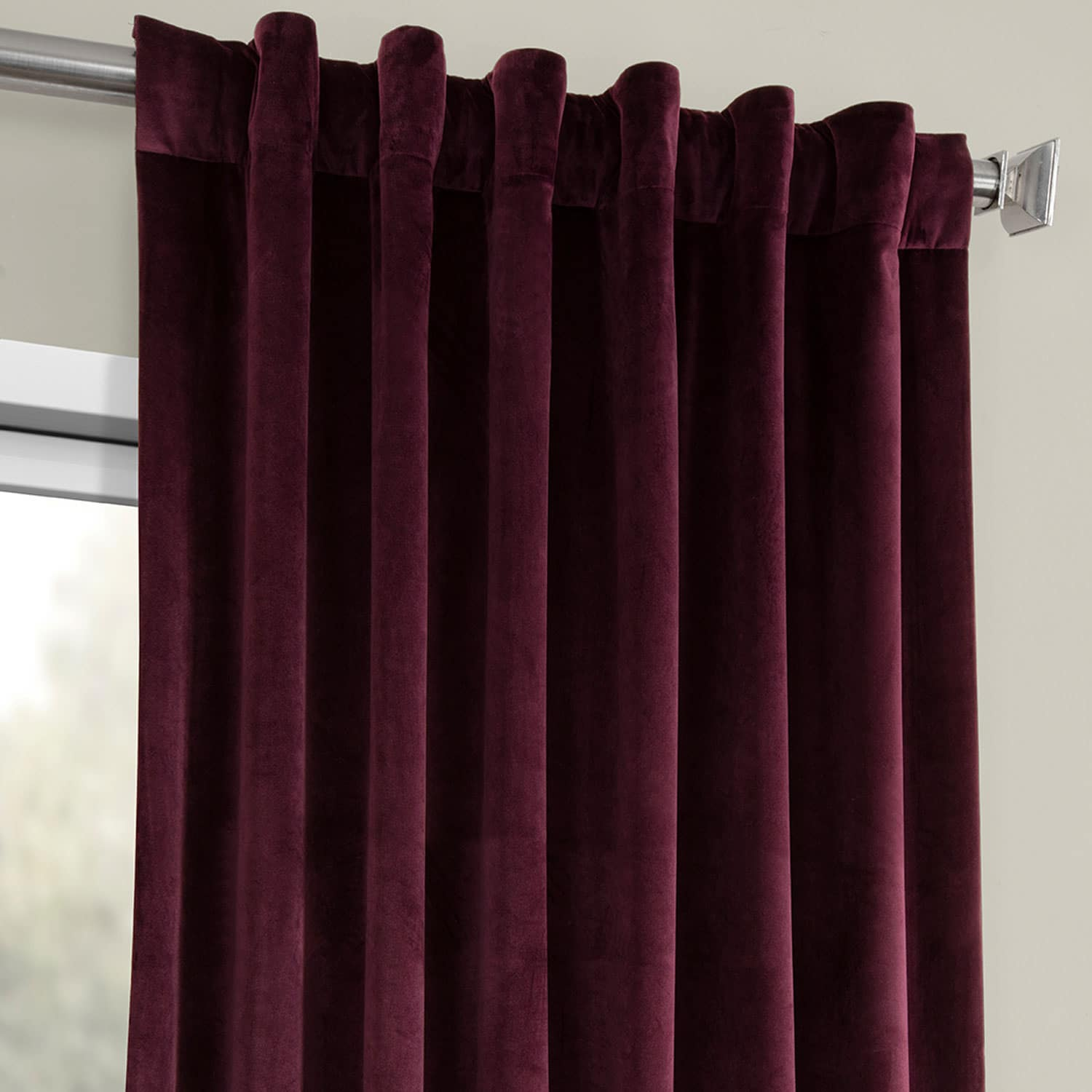 Winter Plum Heritage Plush Velvet Curtain