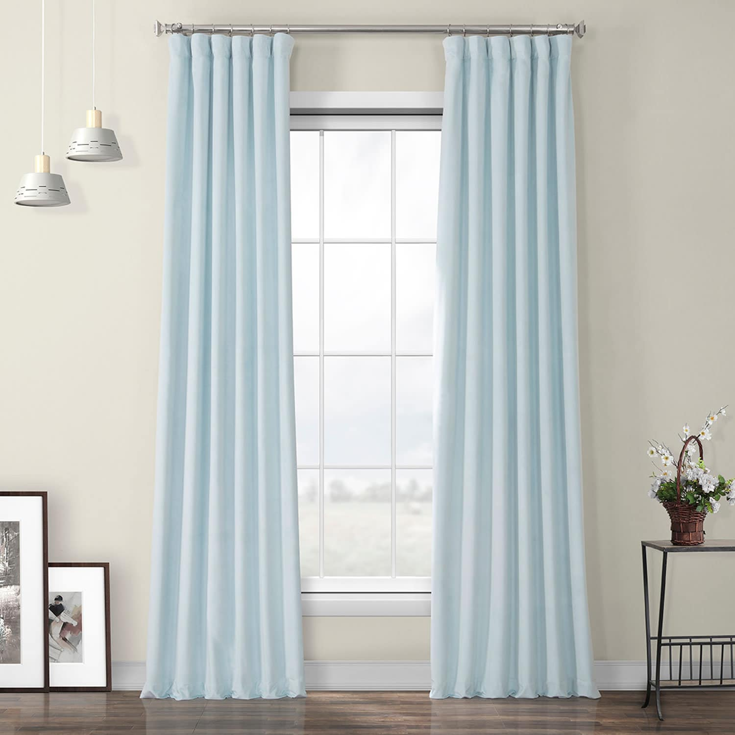 Aquarius Blue Heritage Plush Velvet Curtain