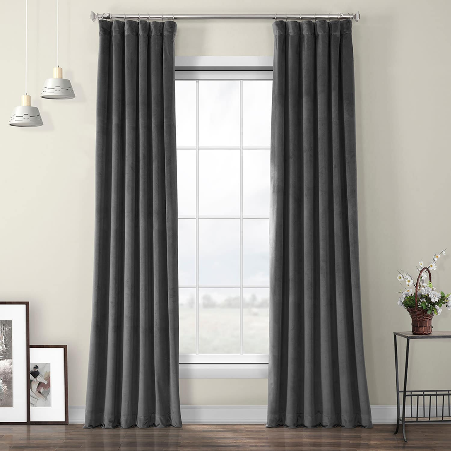 Pepper Grey Heritage Plush Velvet Curtain