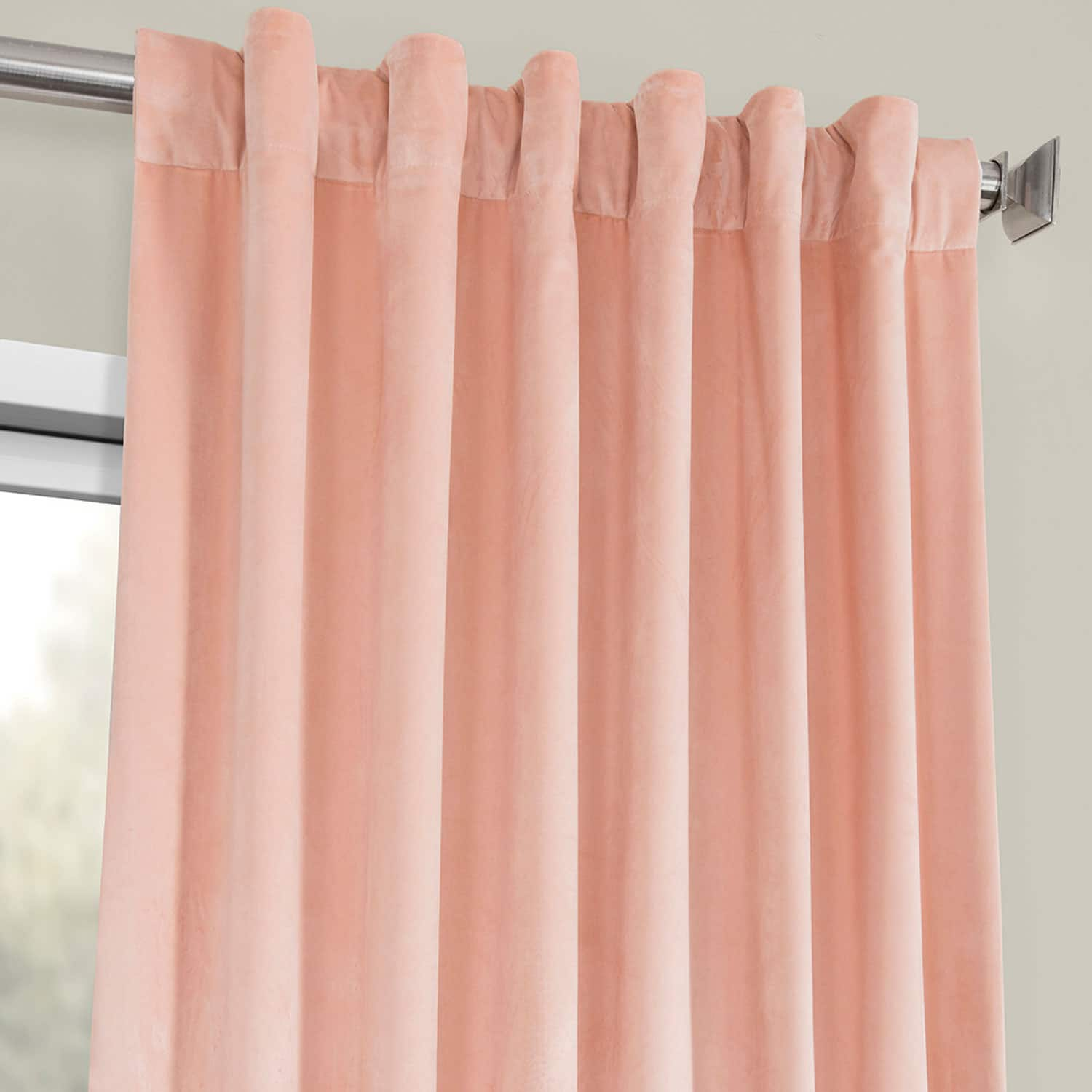 Peach Blossom Heritage Plush Velvet Curtain