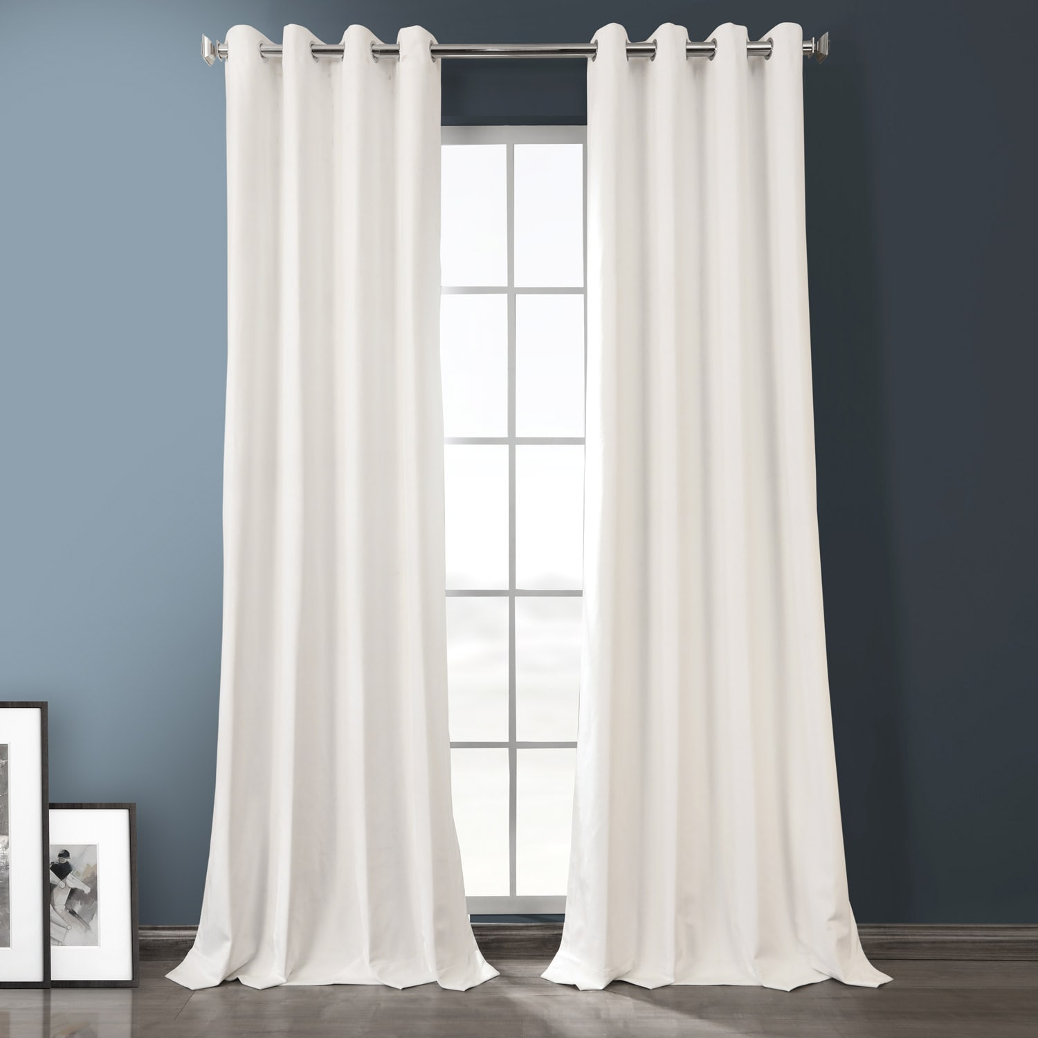 Warm White Plush Velvet Hotel Blackout Grommet Curtain