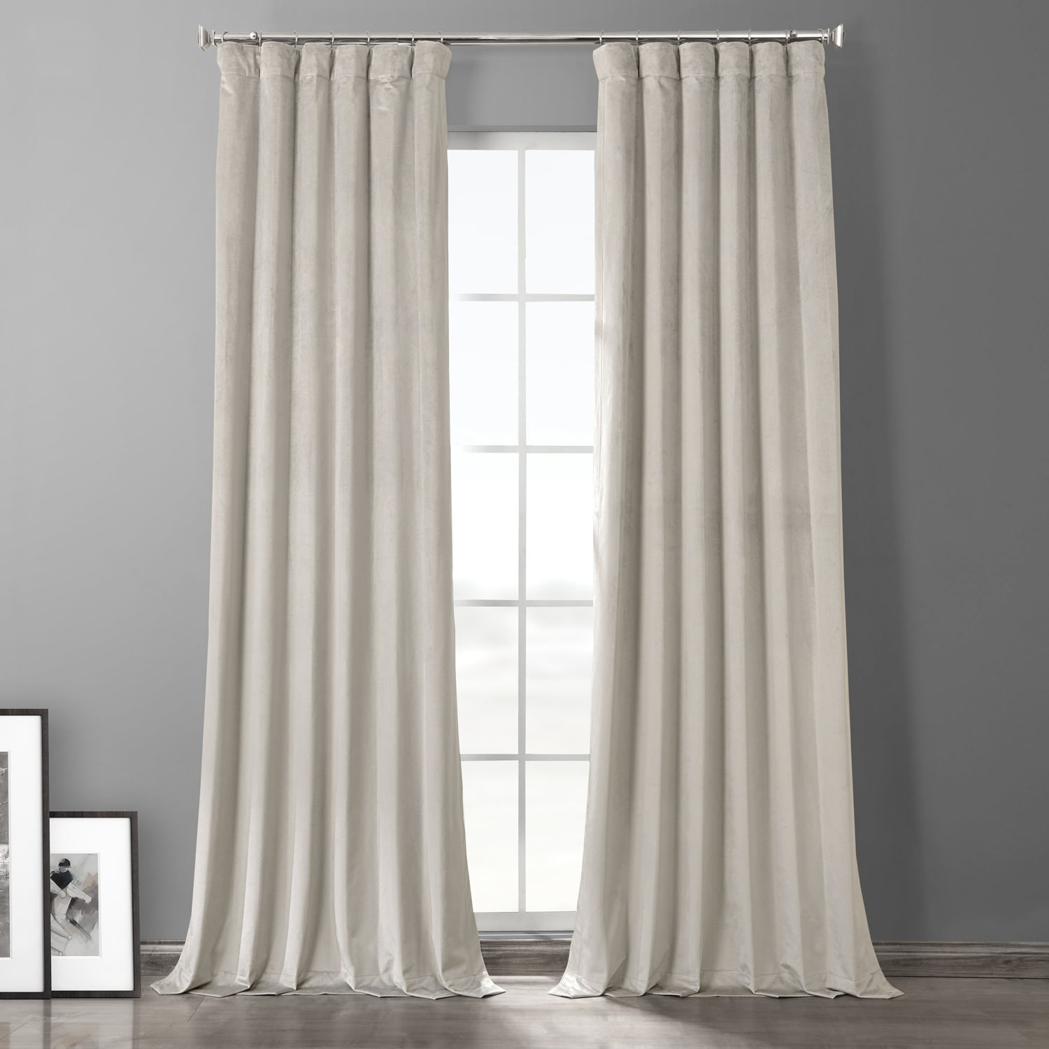 Silvery Taupe Plush Velvet Hotel Blackout Curtain