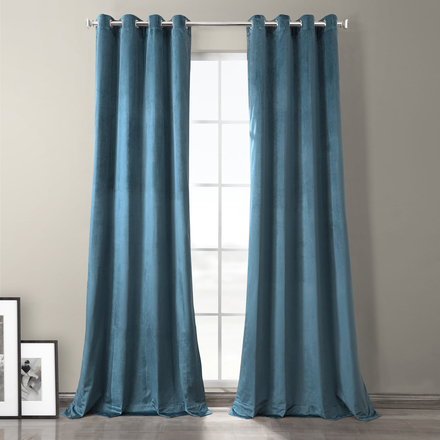 Caspian Blue Plush Velvet Hotel Blackout Grommet Curtain