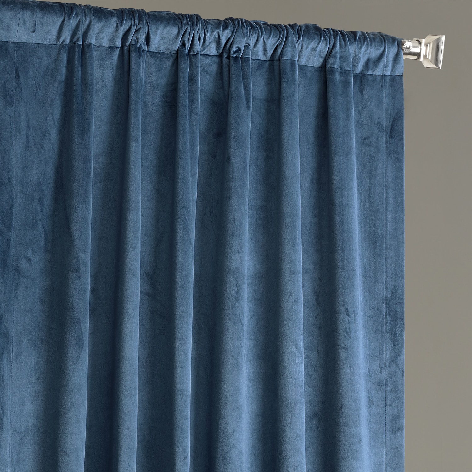 Baroness Blue Plush Velvet Hotel Blackout Curtain