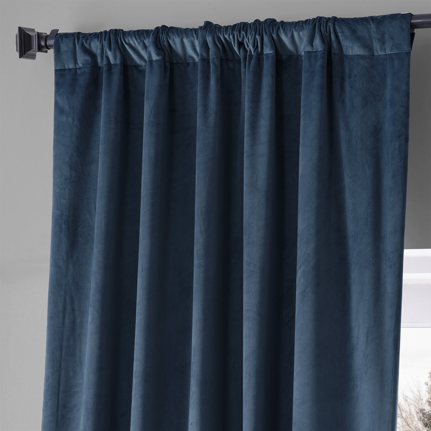 Signature Varsity Blue Plush Velvet Hotel Blackout Curtain