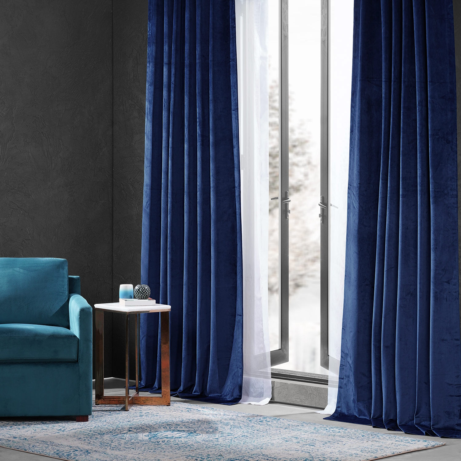 Designer Navy Performance Velvet Blackout Curtain Pair (2 Panels)