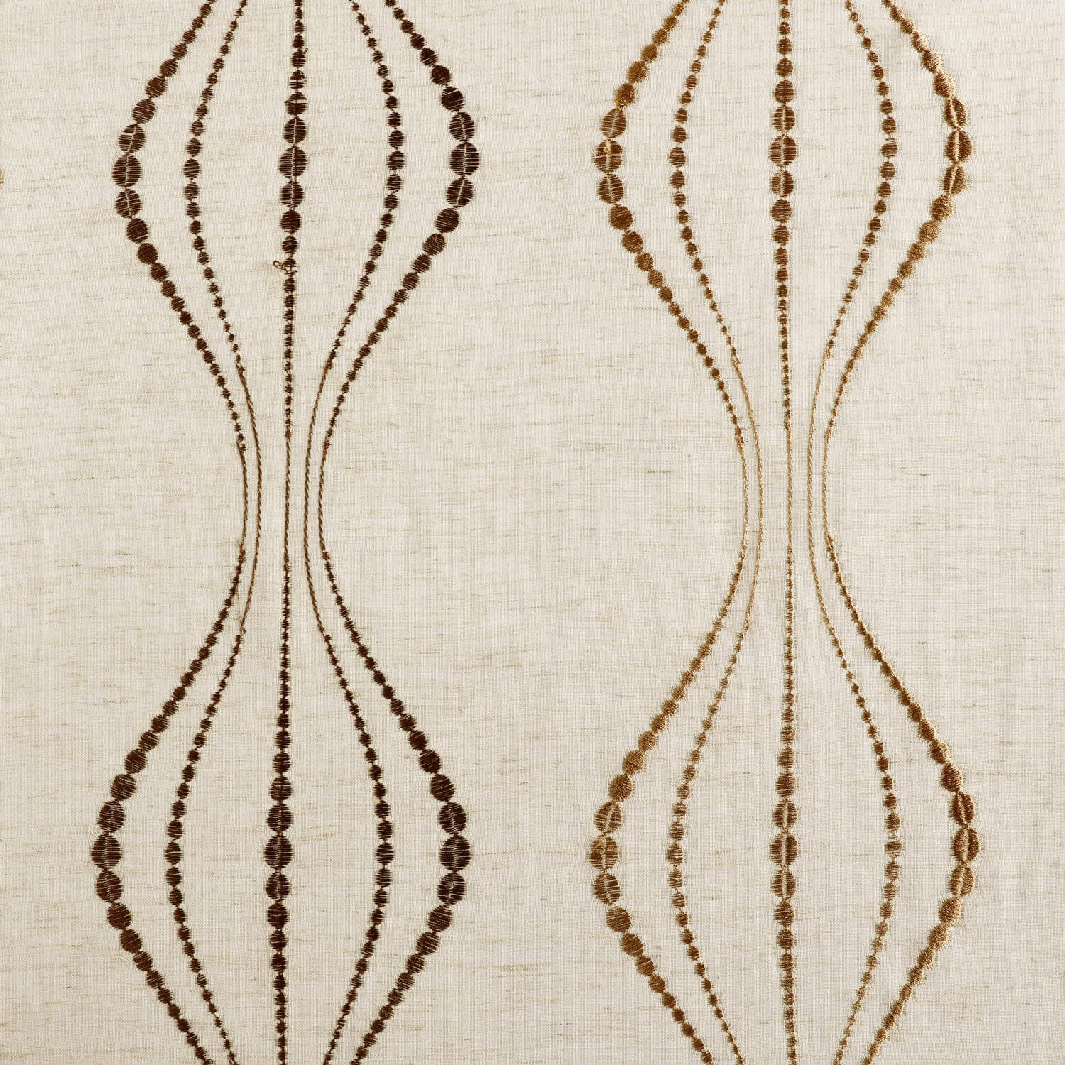 Suez Bronze Embroidered Faux Linen Sheer Fabric