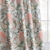 Garden Party Sky Blue Printed Linen Textured Blackout Curtain