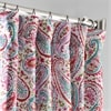 Bohemian Paisley Pink Printed Linen Textured Blackout Curtain