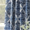 Tiera Blue Printed Faux Silk Taffeta Blackout Curtain