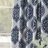 Donegal Blue Printed Faux Silk Taffeta Blackout Curtain