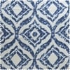Plaza Blue Printed Faux Linen Sheer Fabric