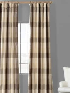 Designer Faux Silk Plaid Curtains