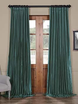 Extra Wide Solid Faux Silk Curtains