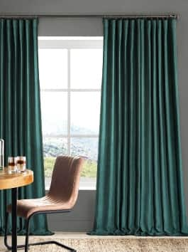 Faux Linen Blackout Room Darkening Curtains