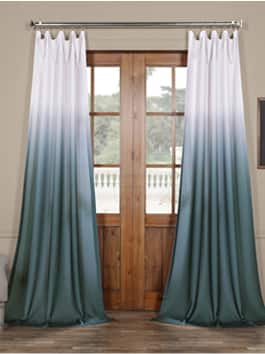 Faux Linen Printed Curtains