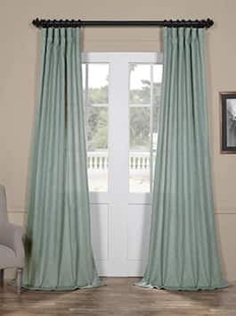 Faux Linen Semi Sheer Curtains