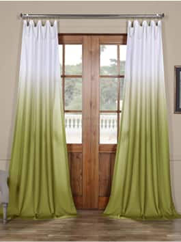 Faux Linen Semi Sheer Printed Curtains