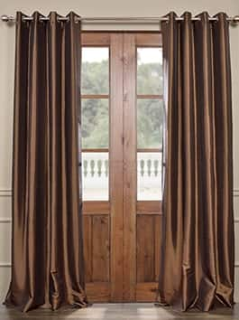 Grommet Solid Faux Silk Curtains