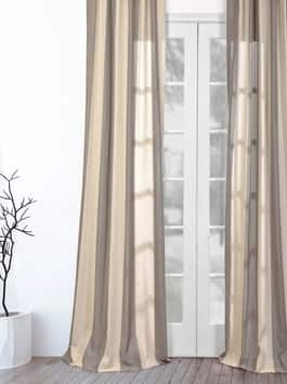 Linen Textured Stripe Curtains