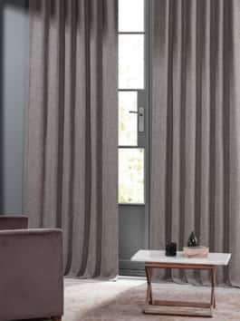 Monochromatic Faux Linen Curtain Pair