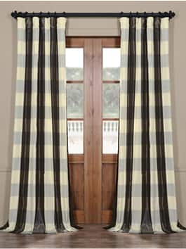 Plaid Faux Silk Curtains