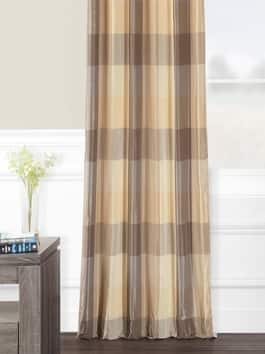 Designer Plaid Faux Silk Curtains