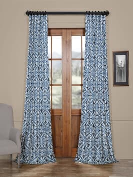 Printed Faux Silk Taffeta Blackout Curtains