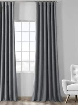 Thermal Room Darkening Heathered Woolen Weave Curtains