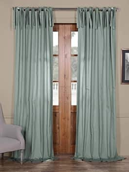 Tie-Top Solid Cotton Curtains