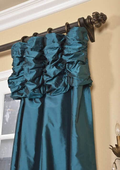 Ruched Faux Silk Curtains