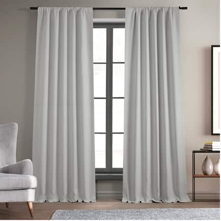 Oyster Faux Linen Blackout Curtain