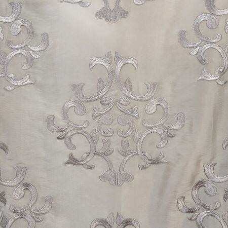 Ankara Silver Embroidered Faux Silk Taffeta Fabric