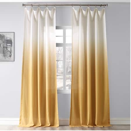 Ombre Gold Faux Linen Sheer Curtain
