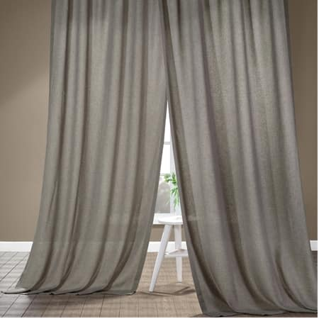Metropolish Grey Faux Linen Sheer Curtain