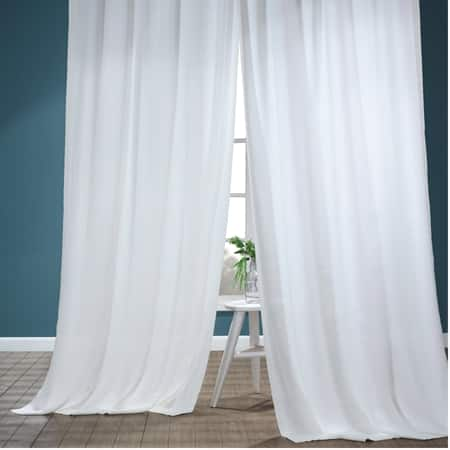 Pale Bloom Faux Linen Sheer Curtain