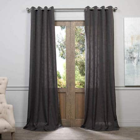 Slate Grey Grommet Heavy Faux Linen Curtain