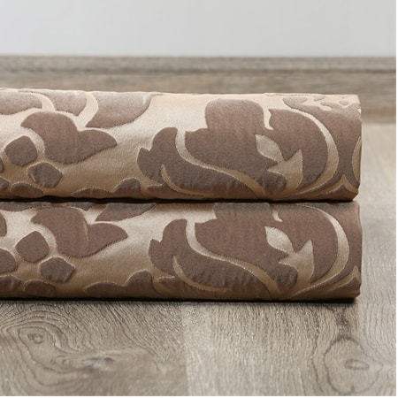 Astoria Taupe & Mushroom Faux Silk Jacquard Fabric