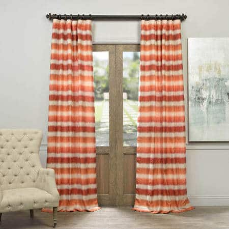 Fiery Sunset Horizontal Stripe Faux Silk Jacquard Curtain