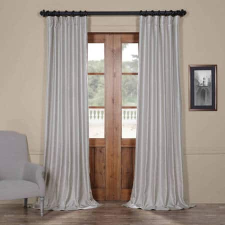 Elemental Silver Yarn Dyed Faux Dupioni Silk Curtain