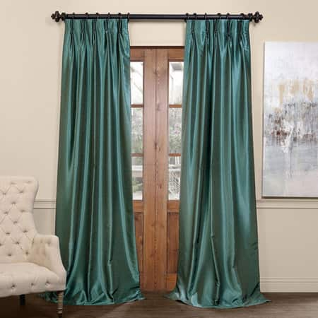 Peacock Blackout Vintage Textured Faux Dupioni Pleated Curtain