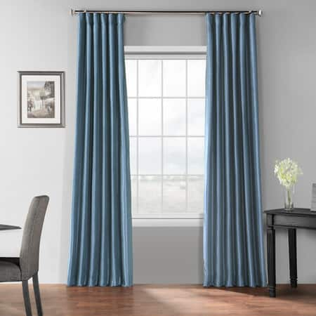 Provencial Blue Blackout Vintage Textured Faux Dupioni Curtain