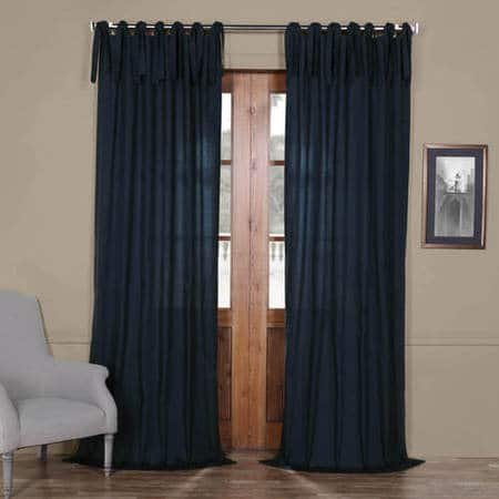 Polo Navy Solid Cotton Tie-Top Curtain