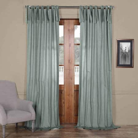 Jasper Stone Solid Cotton Tie-Top Curtain